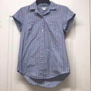 J crew blue striped short sleeves top